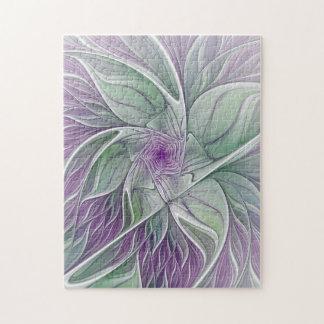 Rêve de fleur, art vert pourpre abstrait de puzzle