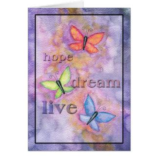 Rêve d'espoir de carte de papillon vivant