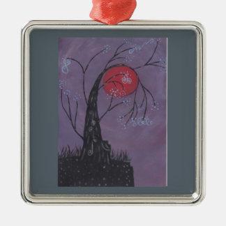 Réveil de l'arbre ornement carré argenté