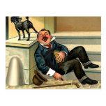 RÉVEIL GROSSIER - art vintage de chien Cartes Postales