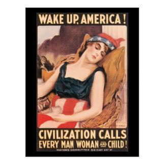 Réveillez la deuxième guerre mondiale carte postale