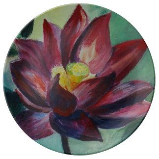 Réveillez le plat décoratif de porcelaine de Lotus Assiettes En Porcelaine