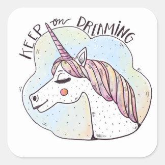 Rêver des licornes sticker carré