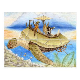 Rêver sur la carte postale bleu vert de marées