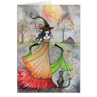 Rêverie d'automne de carte de chat de sorcière de