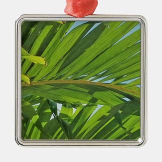 Rêves de palmier ornement carré argenté
