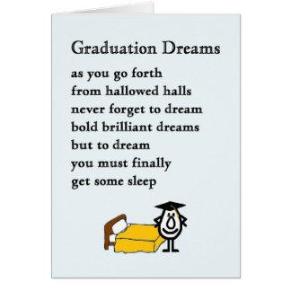 Rêves d'obtention du diplôme - poème drôle carte de vœux