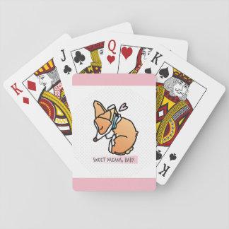 rêves doux, bébé de corgi. carte de jeu de rose en cartes à jouer