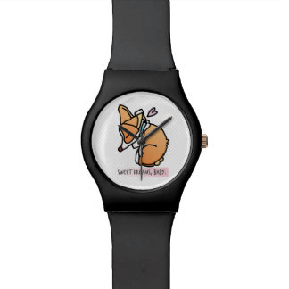 rêves doux, bébé de corgi. montre simple noire montres