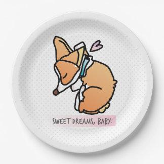 rêves doux, bébé de corgi. plaque à papier assiettes en papier