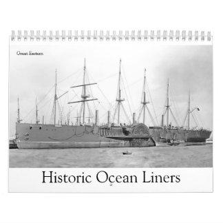 Revêtements d'océan historiques calendrier mural