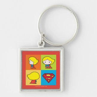 Revirement de caractère de Chibi Supergirl Porte-clé Carré Argenté