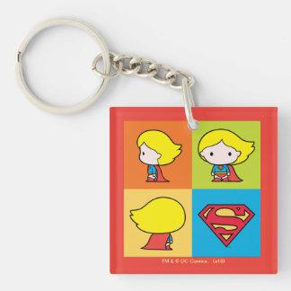 Revirement de caractère de Chibi Supergirl Porte-clé Carré En Acrylique Double Face