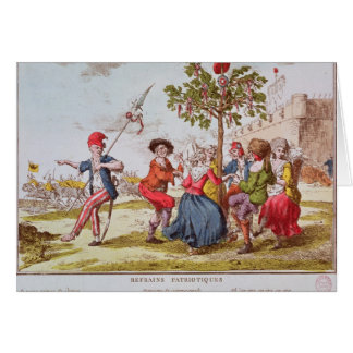 Révolutionnaires français dansant le carmagnole carte de vœux