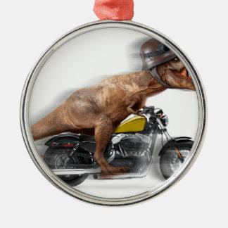 Rex de moto-tyrannosaurus-t de rex de T - Ornement Rond Argenté