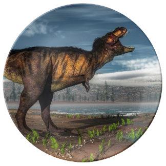 Rex de Tyrannosaurus Assiettes En Porcelaine