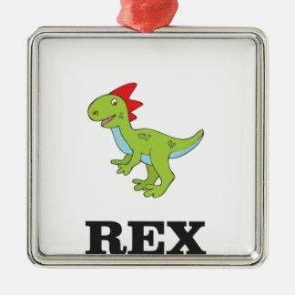 rex Dino d'amusement Ornement Carré Argenté