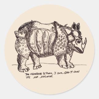 Rhinocéros autoritaire sticker rond
