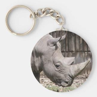 rhinocéros blanc porte-clé rond