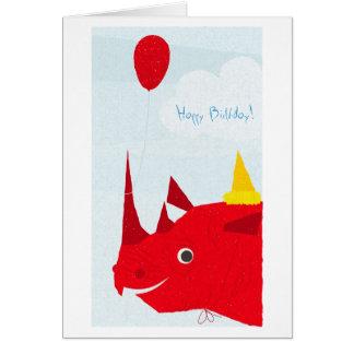 Rhinocéros de joyeux anniversaire (texte editable) carte de vœux