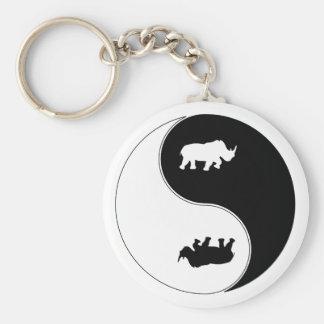 Rhinocéros de Yin Yang Porte-clé Rond