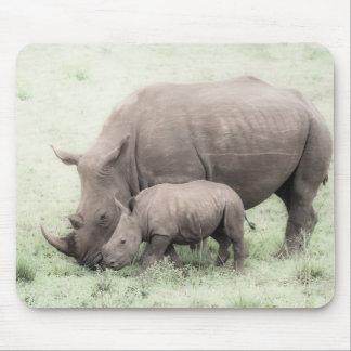 Rhinocéros et bébé blancs Mousepad Tapis De Souris