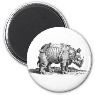 Rhinocéros Magnet Rond 8 Cm