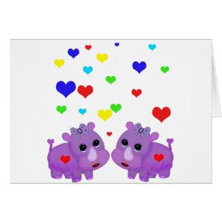 Rhinocéros mignon GLBT de coeur d'arc-en-ciel de Carte De Vœux