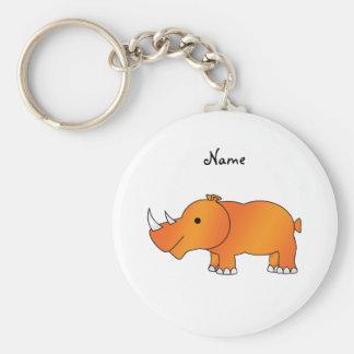 Rhinocéros orange nommé personnalisé porte-clé rond
