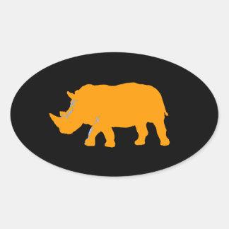 Rhinocéros Sticker Ovale