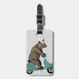 Rhinocéros sur le vélomoteur étiquettes bagages