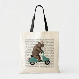 Rhinocéros sur le vélomoteur sacs en toile