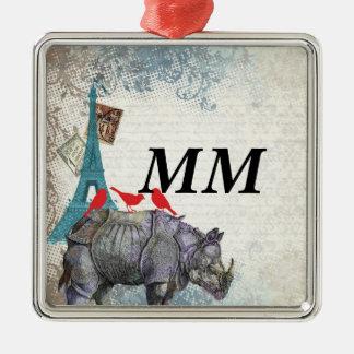 Rhinocéros vintage ornement carré argenté