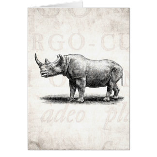Rhinocéros vintages de rhinocéros d'illustration cartes