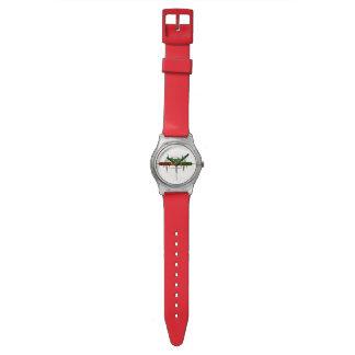 Riddim enracine la montre rouge unisexe faite sur montres cadran