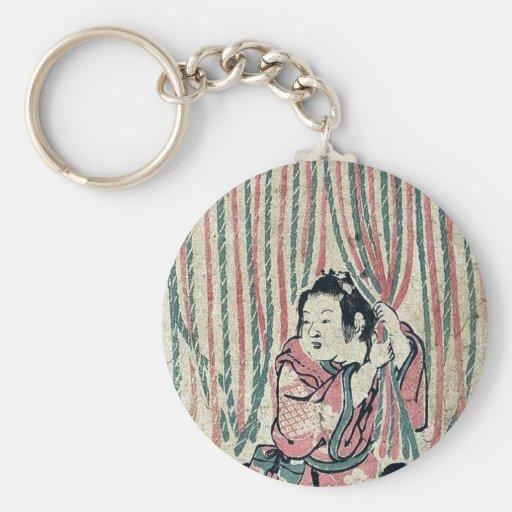 Rideau en corde par Nishimura, Shigenaga Ukiyo-e. Porte-clés