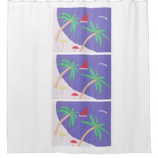 Rideau en douche avec la scène d'île de paume