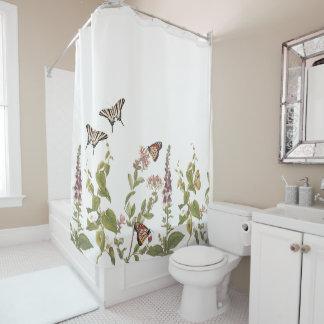 Rideau en douche botanique de papillons de fleurs