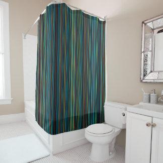 rideau en douche brun vert-bleu pourpre de rayure
