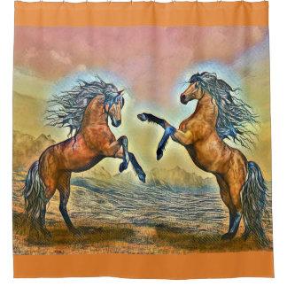 Rideau en douche de chevaux sauvages