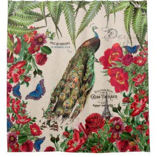 Rideau en douche de fleurs de paon de papillons de