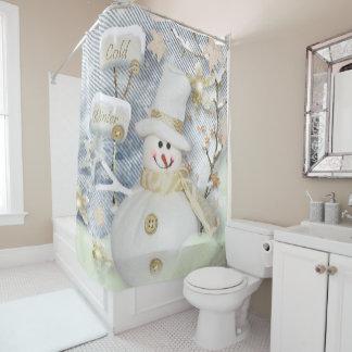 Rideau en douche de Noël/bonhomme de neige