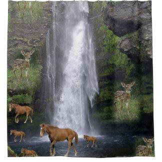 Rideau en douche des chevaux des enfants