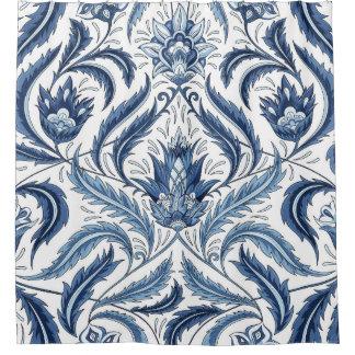 Rideau en douche floral de damassé florale bleue