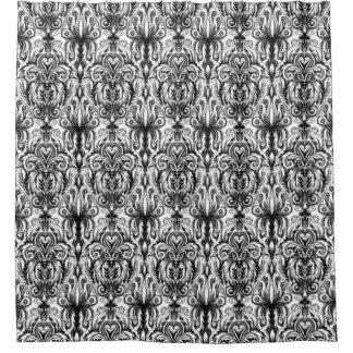 Rideau en douche gothique noir et blanc de damassé