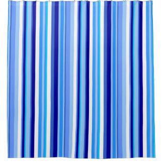 Rideau en douche rayé bleu