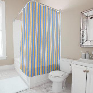 Rideau en douche rayé bleu et orange