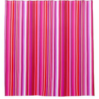 Rideau en douche rayé rose