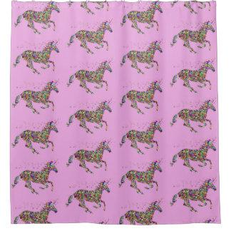 Rideau en douche rose de licorne