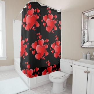 Rideau en douche rouge de coeurs de Saint-Valentin